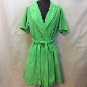 Capelli of New York Intimates & Sleepwear - Capelli Above Knee Robe Green M Tie Belt Terry